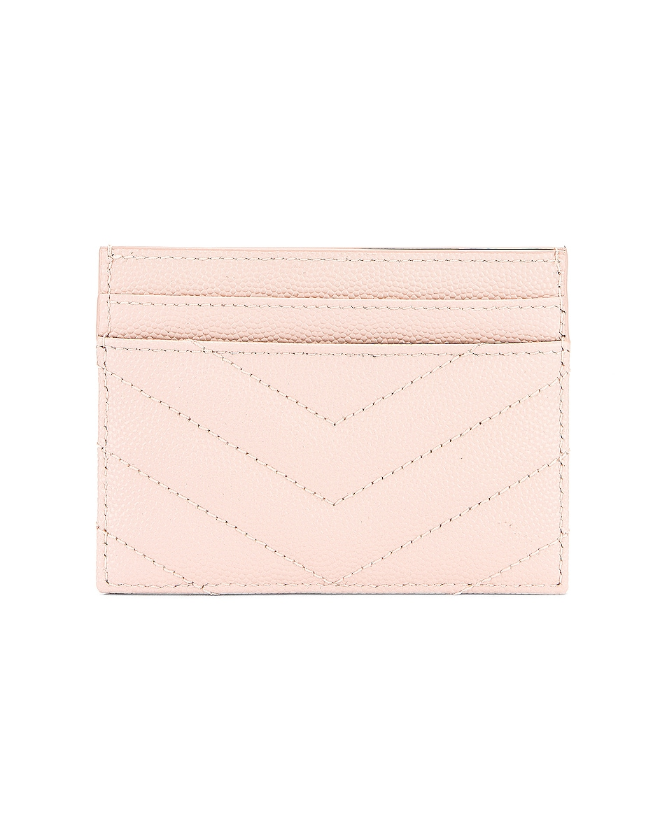 Image 2 of Saint Laurent Monogramme Credit Card Case in Marble Pink