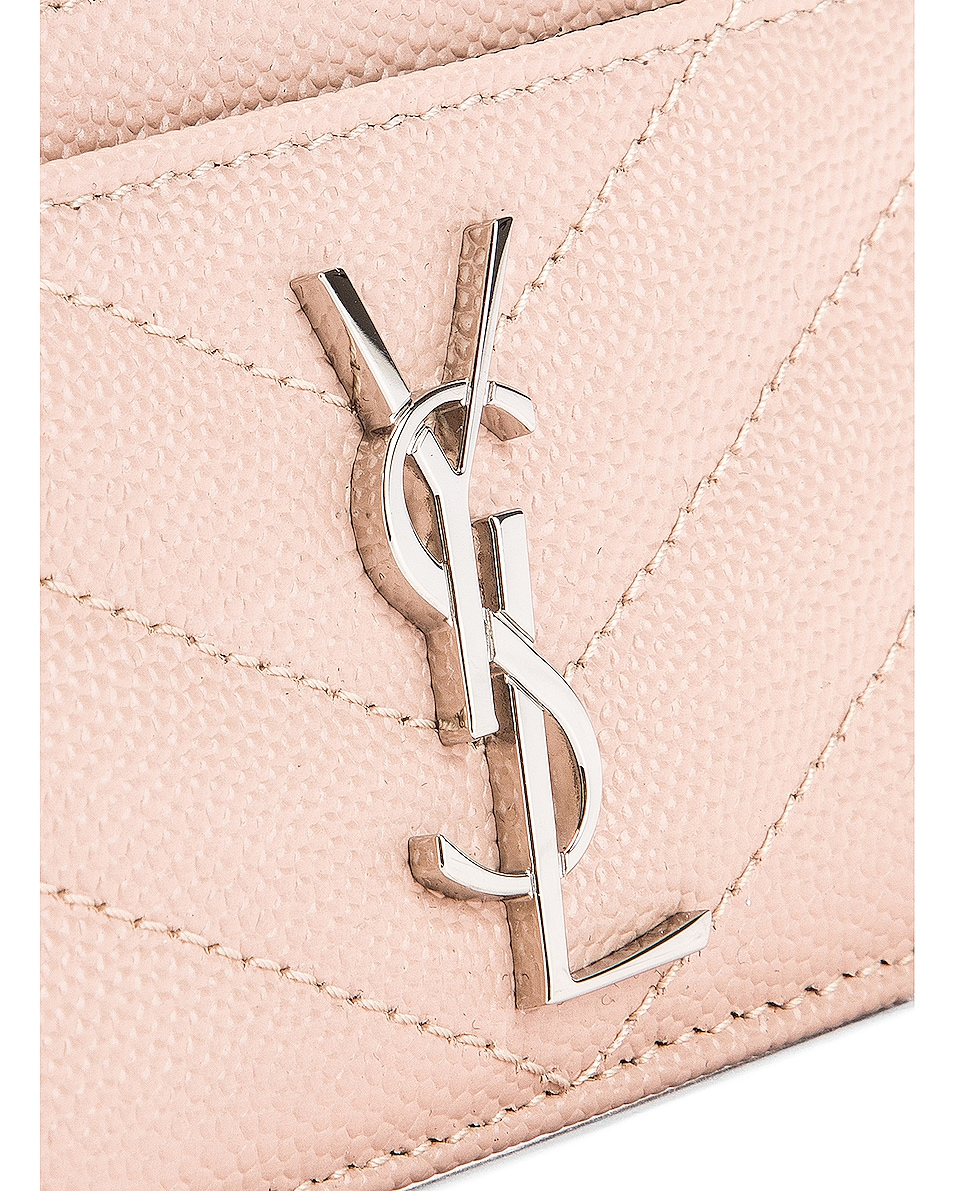 Image 5 of Saint Laurent Monogramme Credit Card Case in Marble Pink