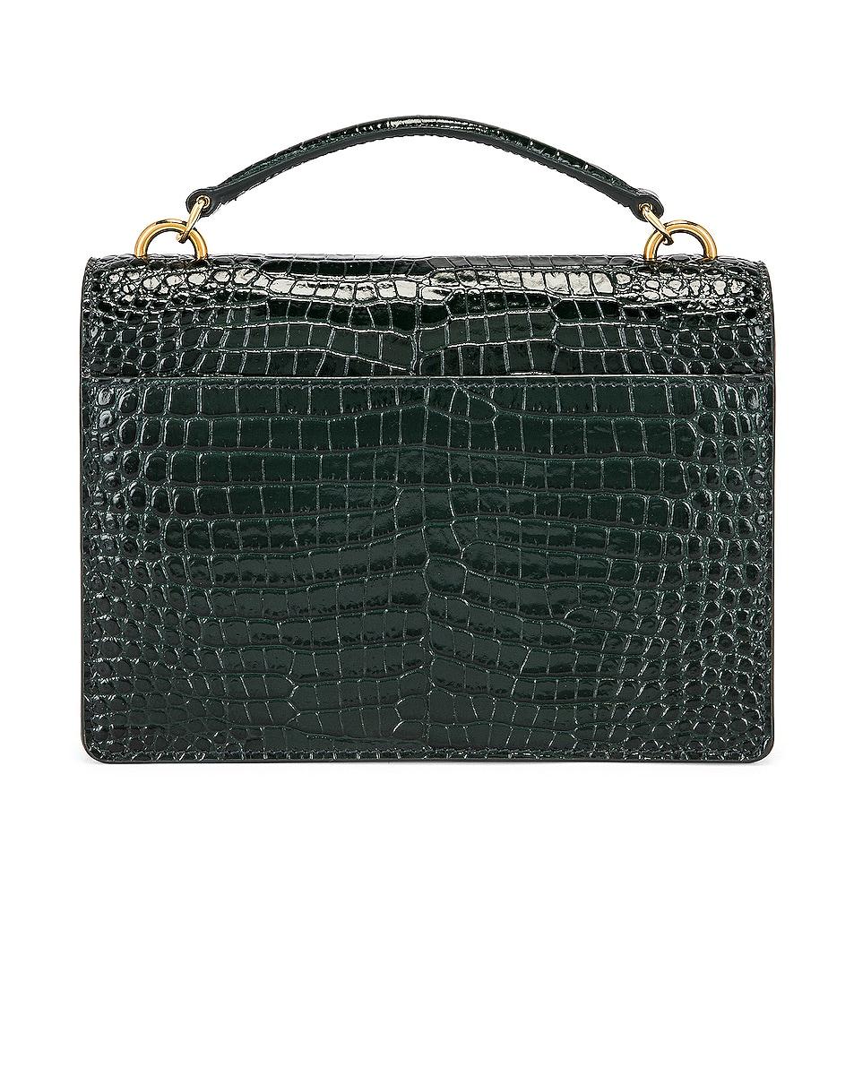 Image 3 of Saint Laurent Sunset Embossed Croc Monogramme Bag in Dark Mint