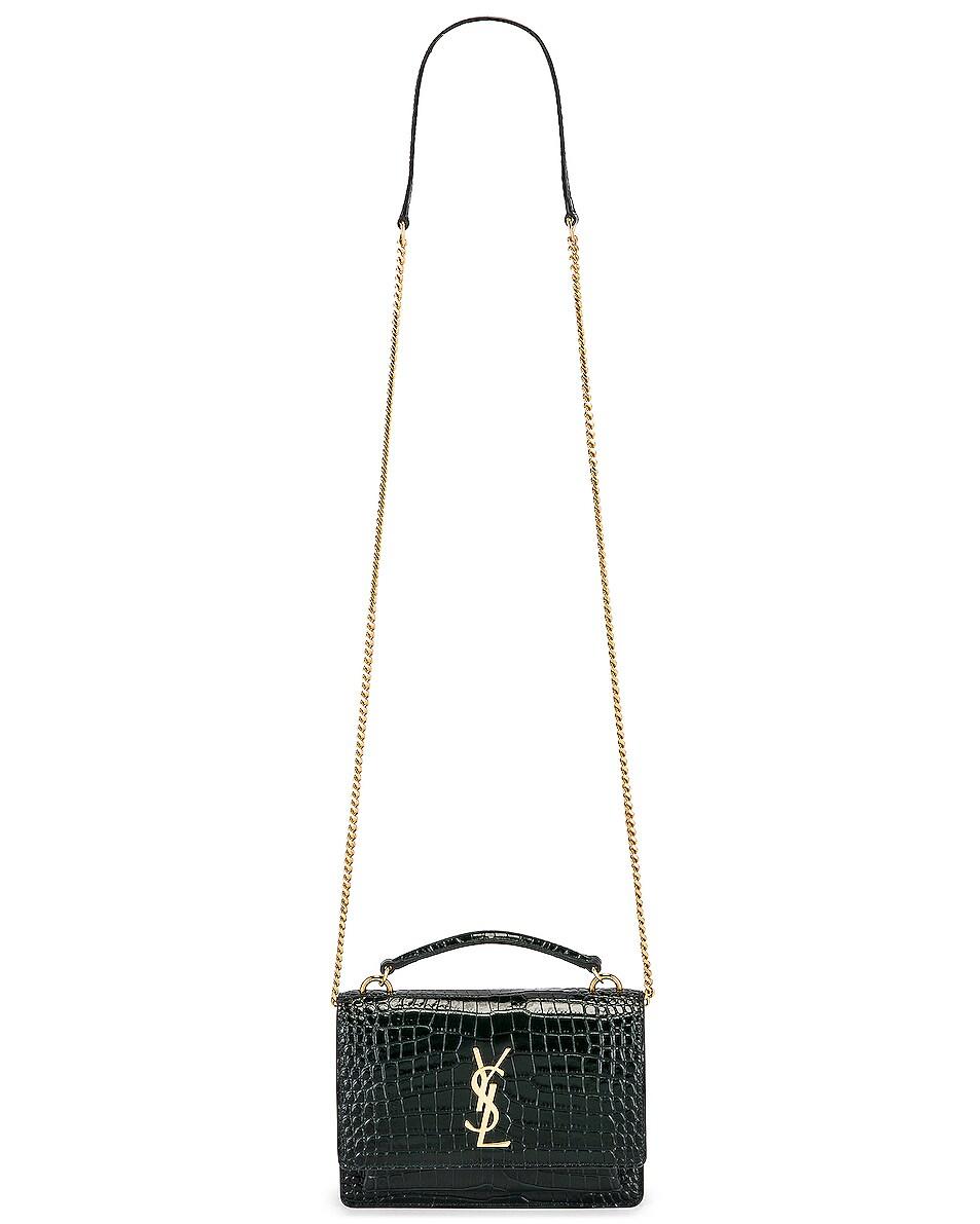 Image 6 of Saint Laurent Sunset Embossed Croc Monogramme Bag in Dark Mint