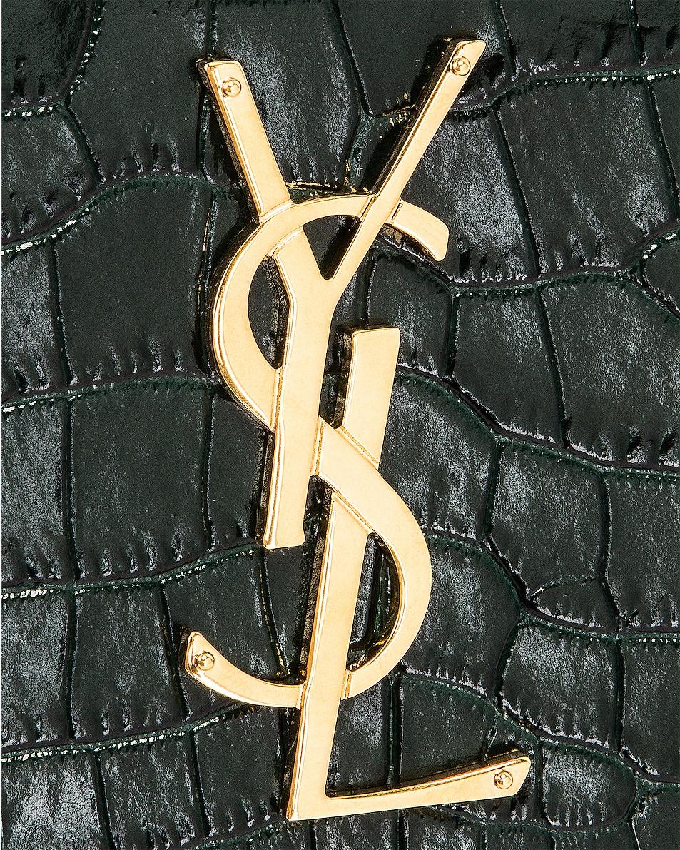 Image 8 of Saint Laurent Sunset Embossed Croc Monogramme Bag in Dark Mint