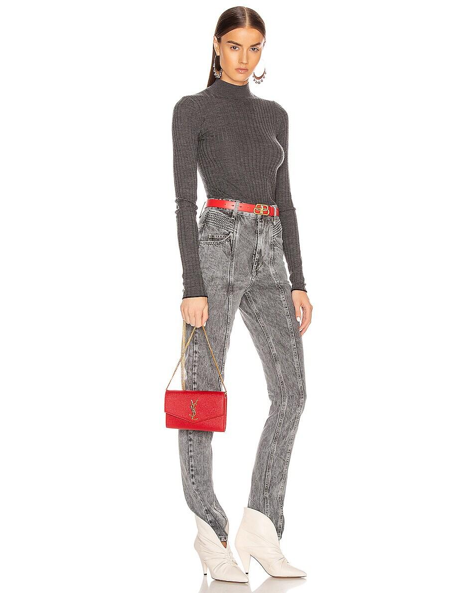 Image 2 of Saint Laurent Flap Chain Bag in Rouge Eros