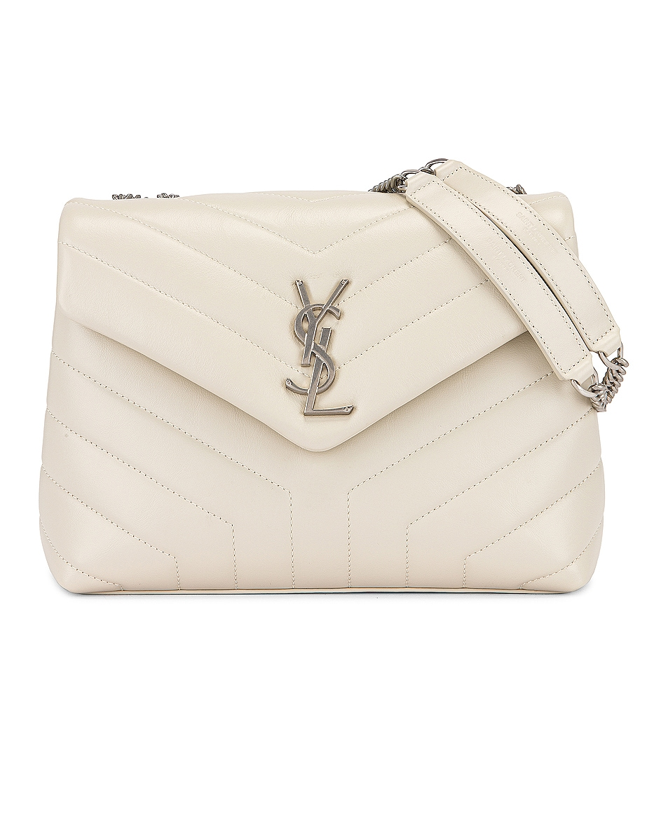 Saint Laurent Small Supple Monogramme Loulou Chain Bag In Crema Soft