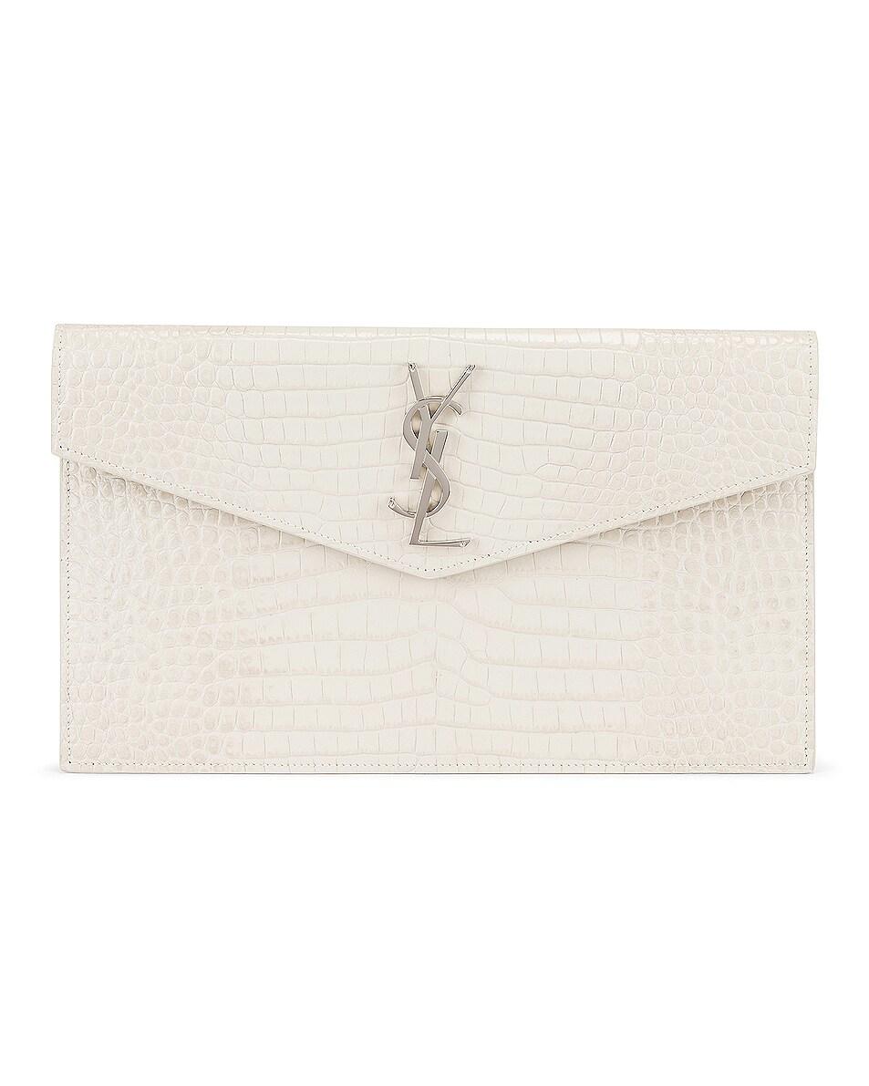 Image 1 of Saint Laurent Uptown Medium Embossed Croc Envelope Clutch in Crema Soft
