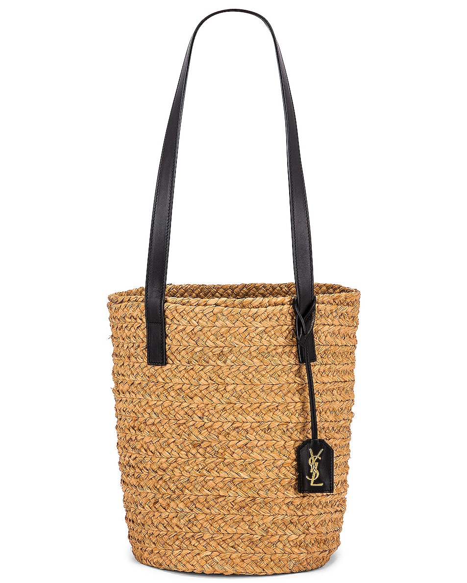 Image 1 of Saint Laurent Small Panier Raffia Bag in Natural & Black