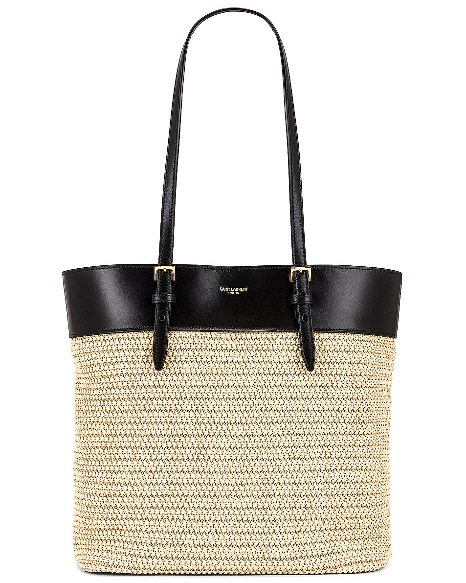 Image 1 of Saint Laurent Mini East West Shopping Tote in Natural & Black
