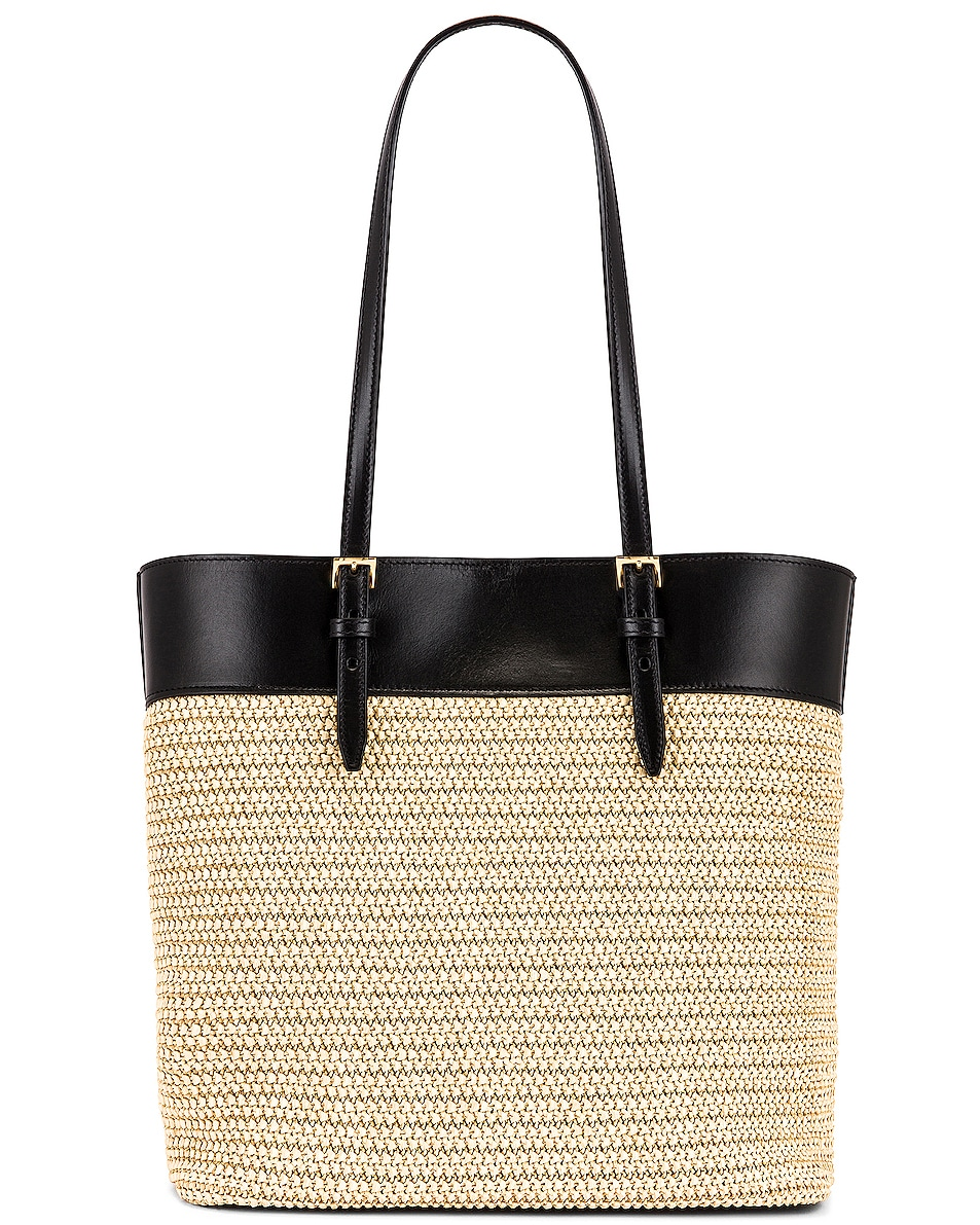 Image 3 of Saint Laurent Mini East West Shopping Tote in Natural & Black