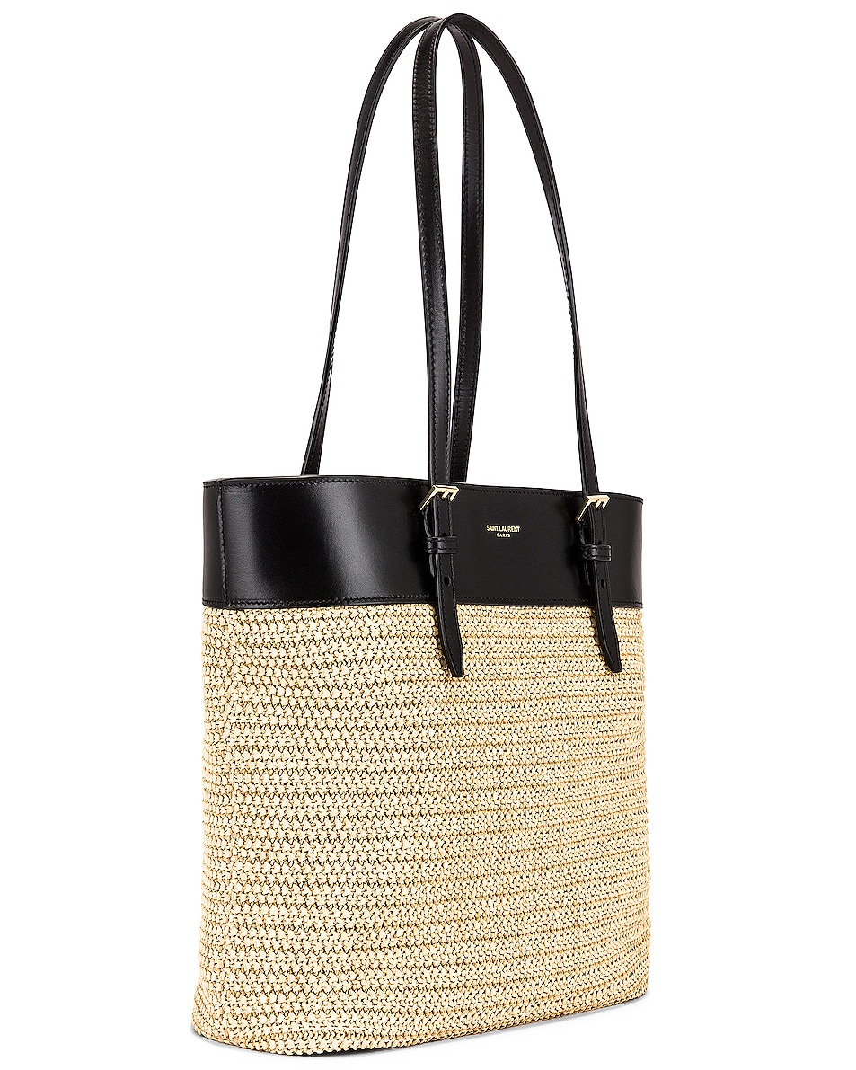 Image 4 of Saint Laurent Mini East West Shopping Tote in Natural & Black