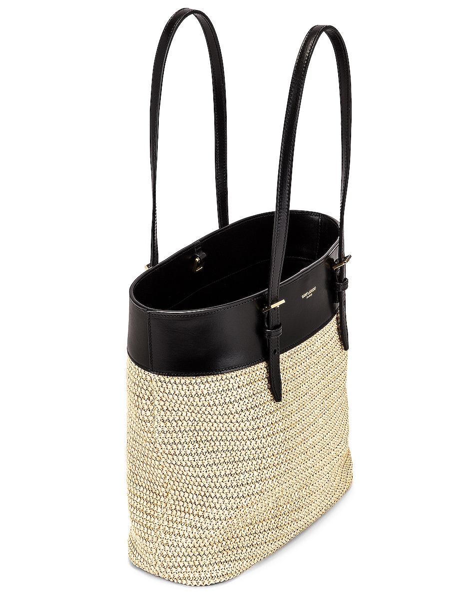 Image 5 of Saint Laurent Mini East West Shopping Tote in Natural & Black