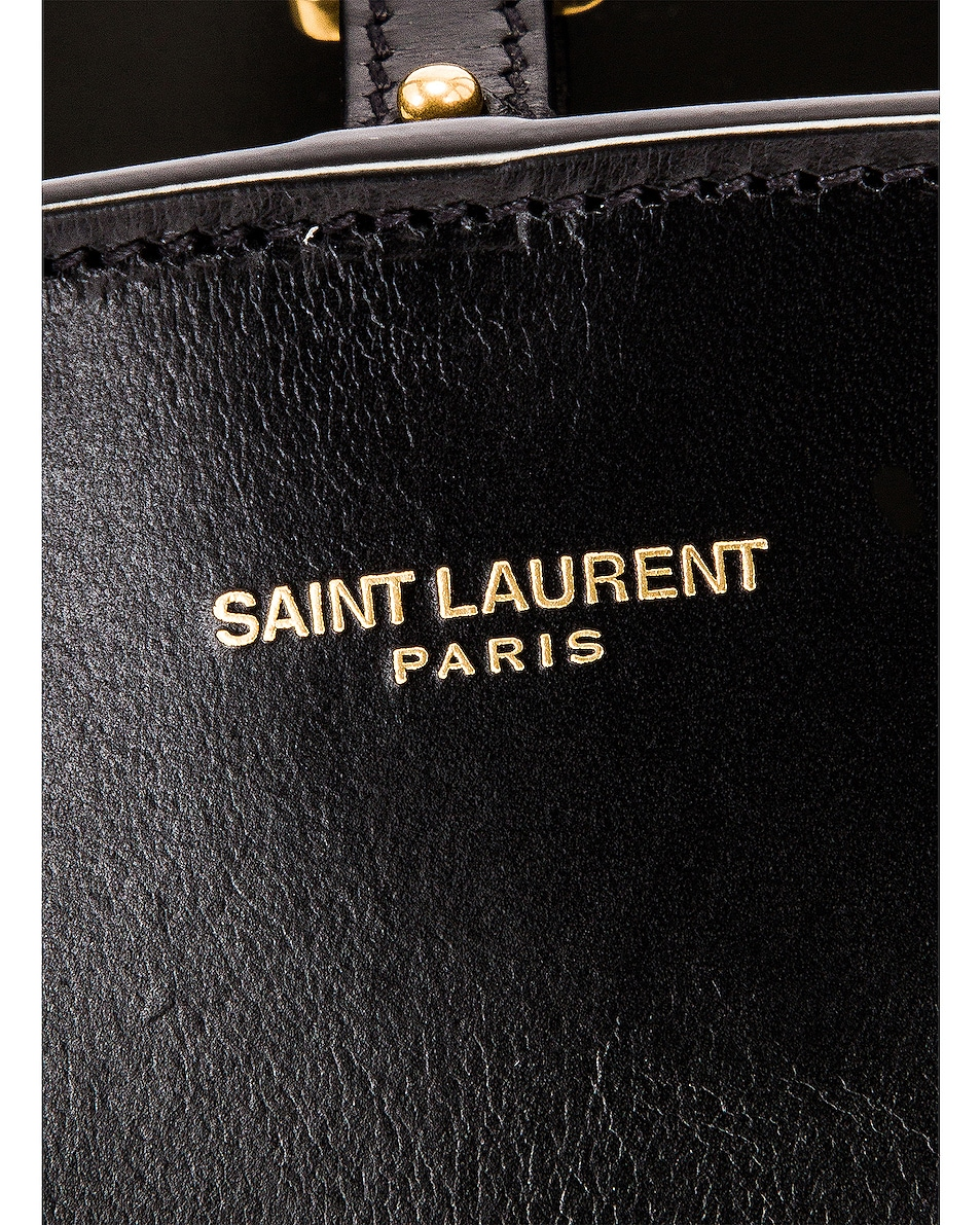 Image 7 of Saint Laurent Mini East West Shopping Tote in Natural & Black
