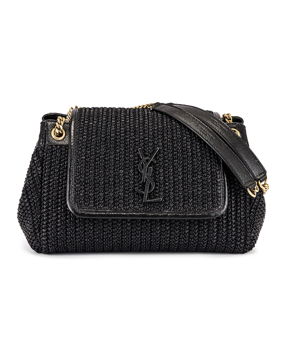 Image 1 of Saint Laurent Nolita Monogramme Raffia Shoulder Bag in Black
