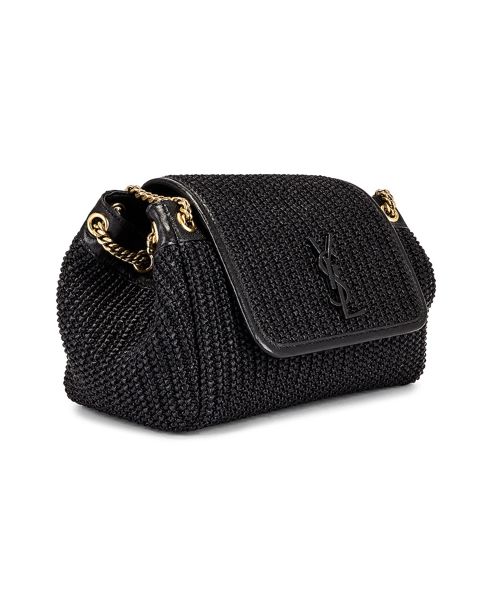 Image 4 of Saint Laurent Nolita Monogramme Raffia Shoulder Bag in Black