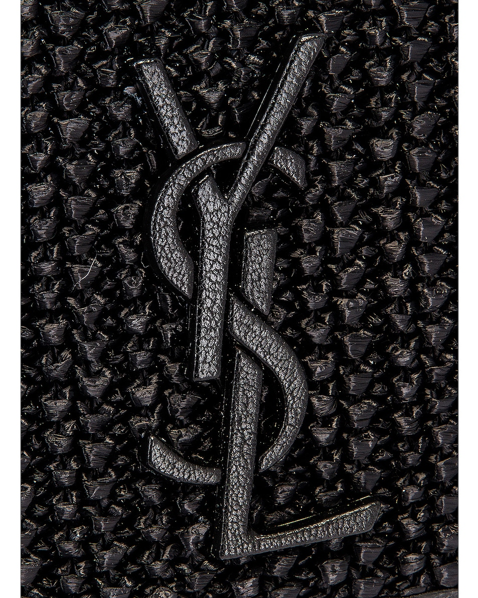 Image 8 of Saint Laurent Nolita Monogramme Raffia Shoulder Bag in Black