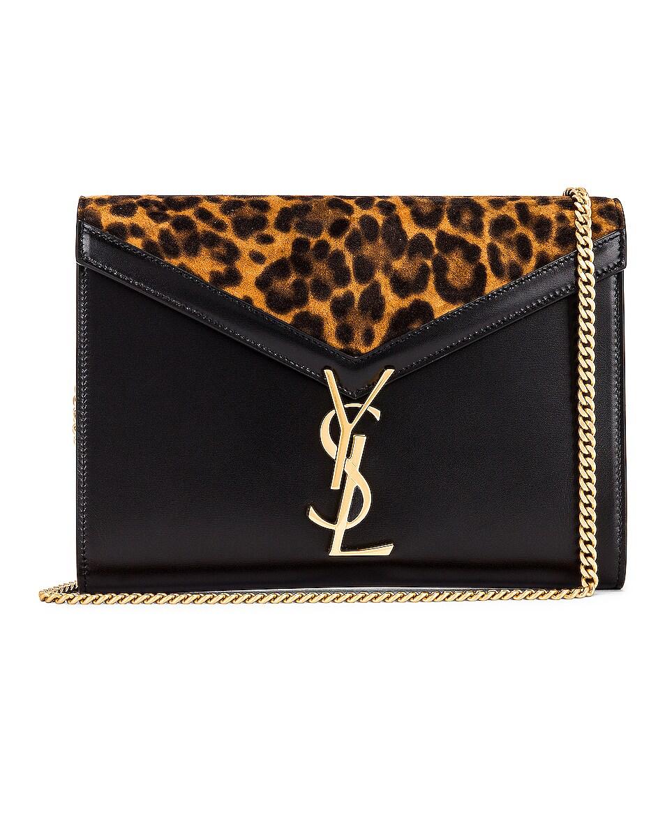 Image 1 of Saint Laurent Leopard Chain Wallet Bag in Manto Naturale & Black