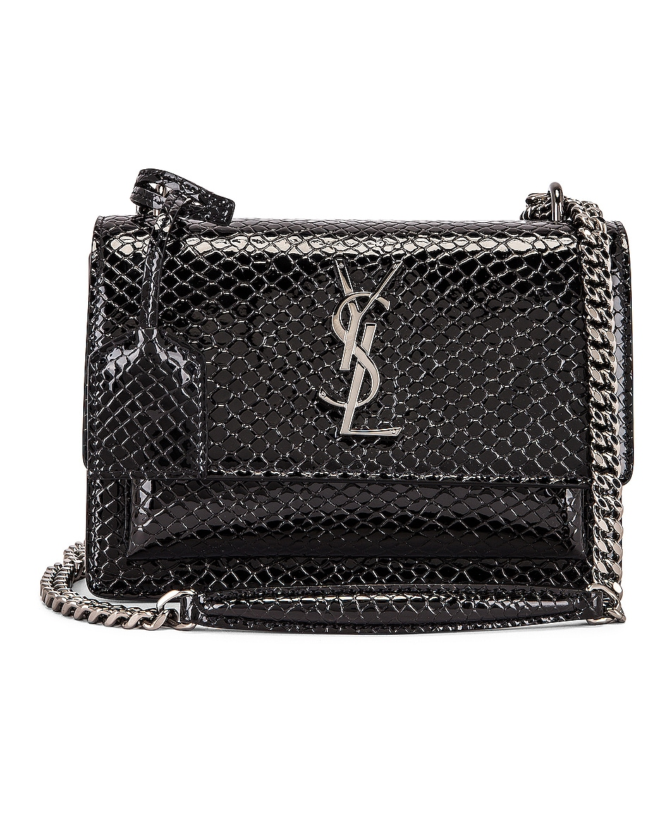 Image 1 of Saint Laurent Small Sunset Monogramme Bag in Black