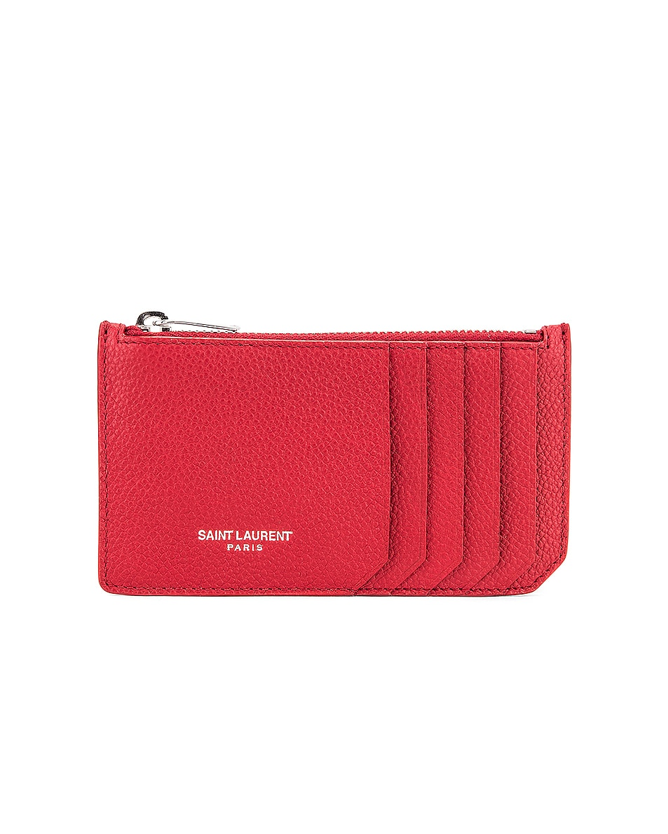 Image 1 of Saint Laurent Zipped Fragments Credit Card Case in Rouge Eros