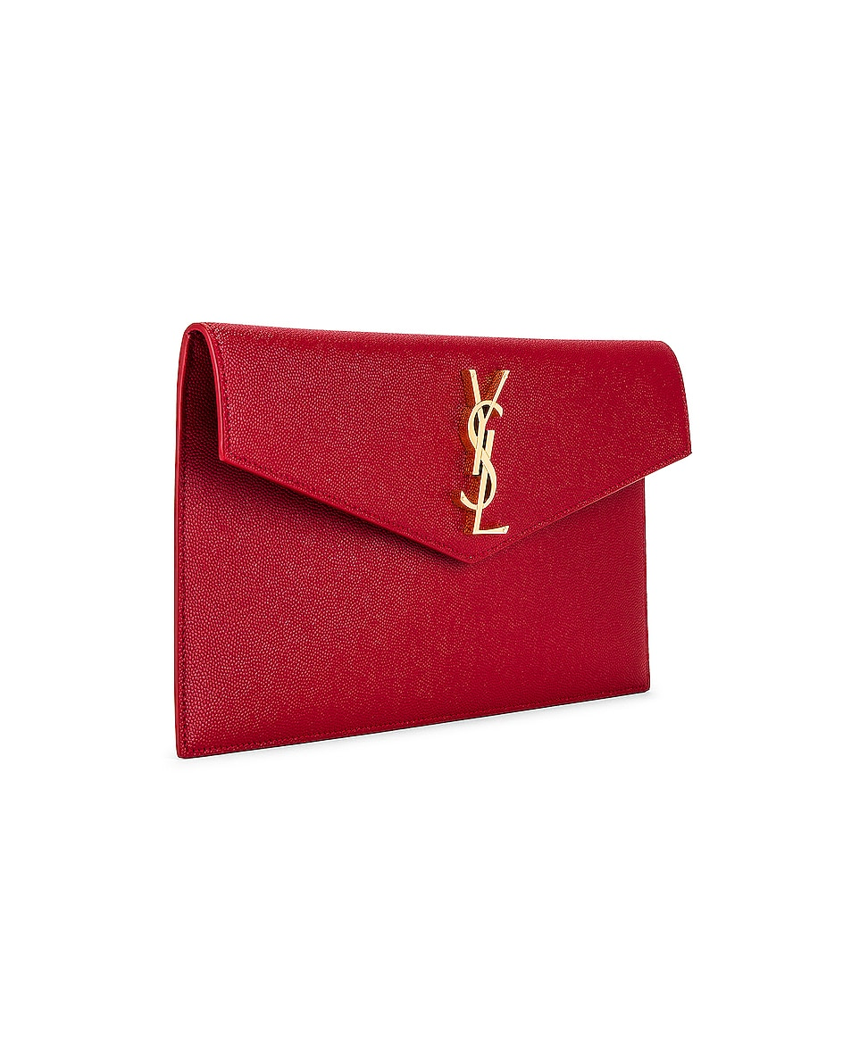 Image 4 of Saint Laurent Medium Clutch in Rouge Eros
