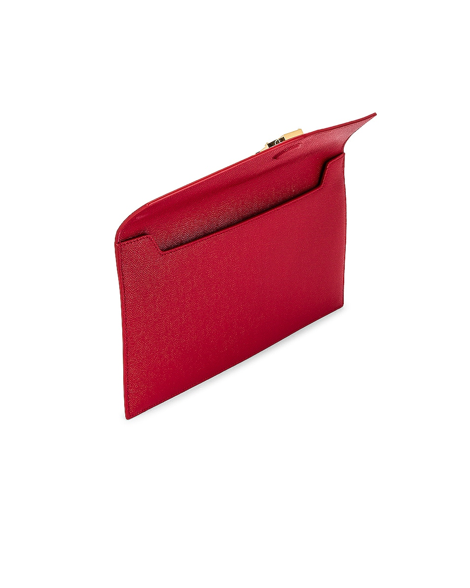 Image 5 of Saint Laurent Medium Clutch in Rouge Eros