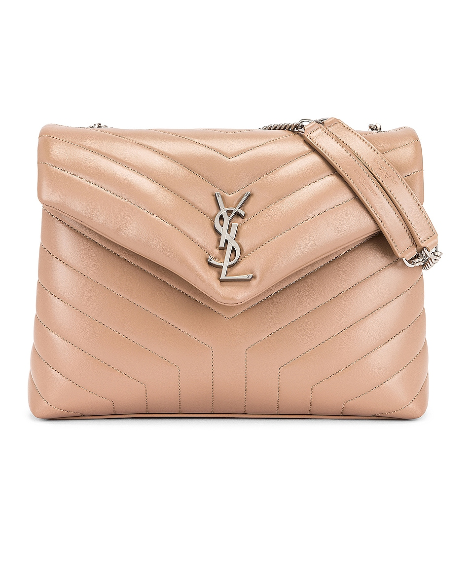 Image 1 of Saint Laurent Medium Loulou Chain Bag in Gold Sand & Gold Sand
