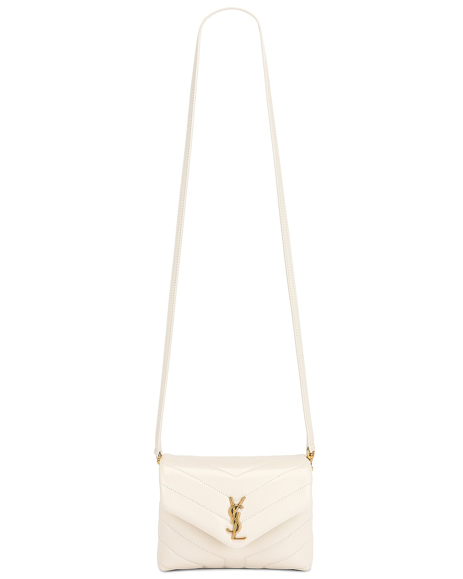 Image 3 of Saint Laurent Toy Loulou Strap Bag in Blanc Vintage