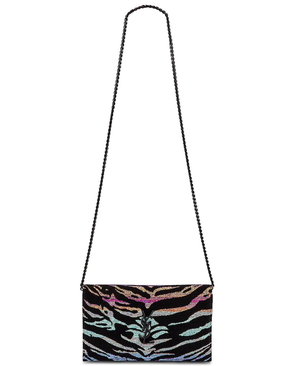 Image 6 of Saint Laurent Monogramme Wallet on Chain Bag in Black & Multicolor