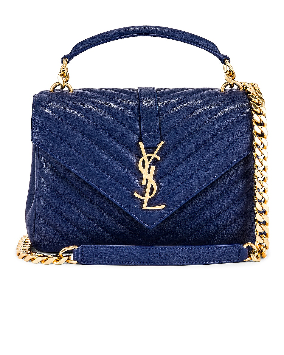 Image 1 of Saint Laurent Medium College Monogramme Bag in Royal Blue