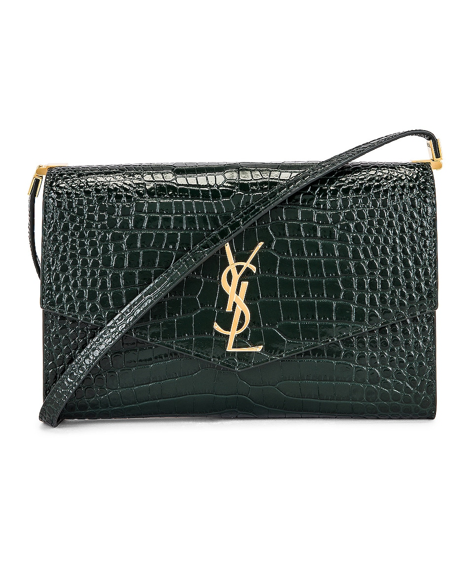 Image 1 of Saint Laurent Embossed Croc Monogramme Chain Wallet Bag in Dark Mint