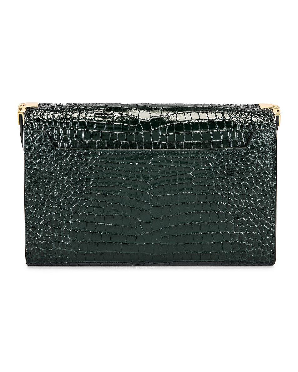Image 3 of Saint Laurent Embossed Croc Monogramme Chain Wallet Bag in Dark Mint