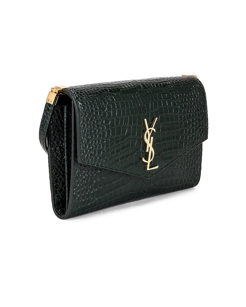 Image 4 of Saint Laurent Embossed Croc Monogramme Chain Wallet Bag in Dark Mint