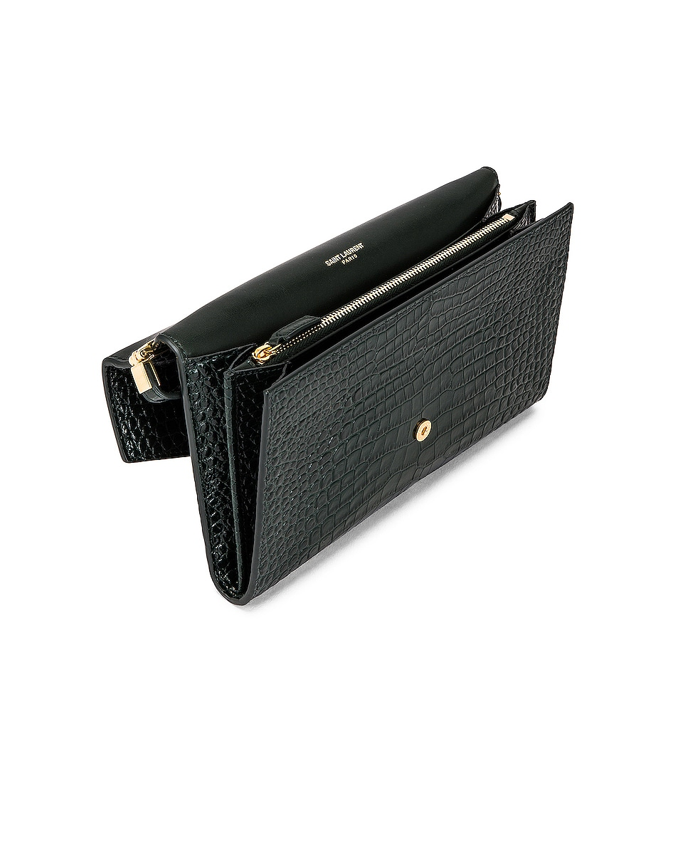 Image 5 of Saint Laurent Embossed Croc Monogramme Chain Wallet Bag in Dark Mint