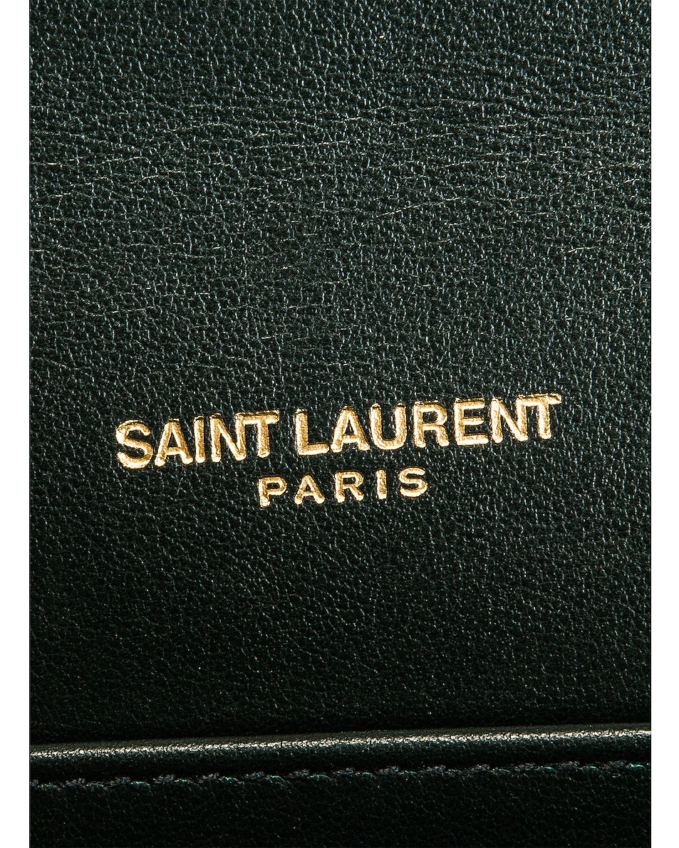 Image 7 of Saint Laurent Embossed Croc Monogramme Chain Wallet Bag in Dark Mint