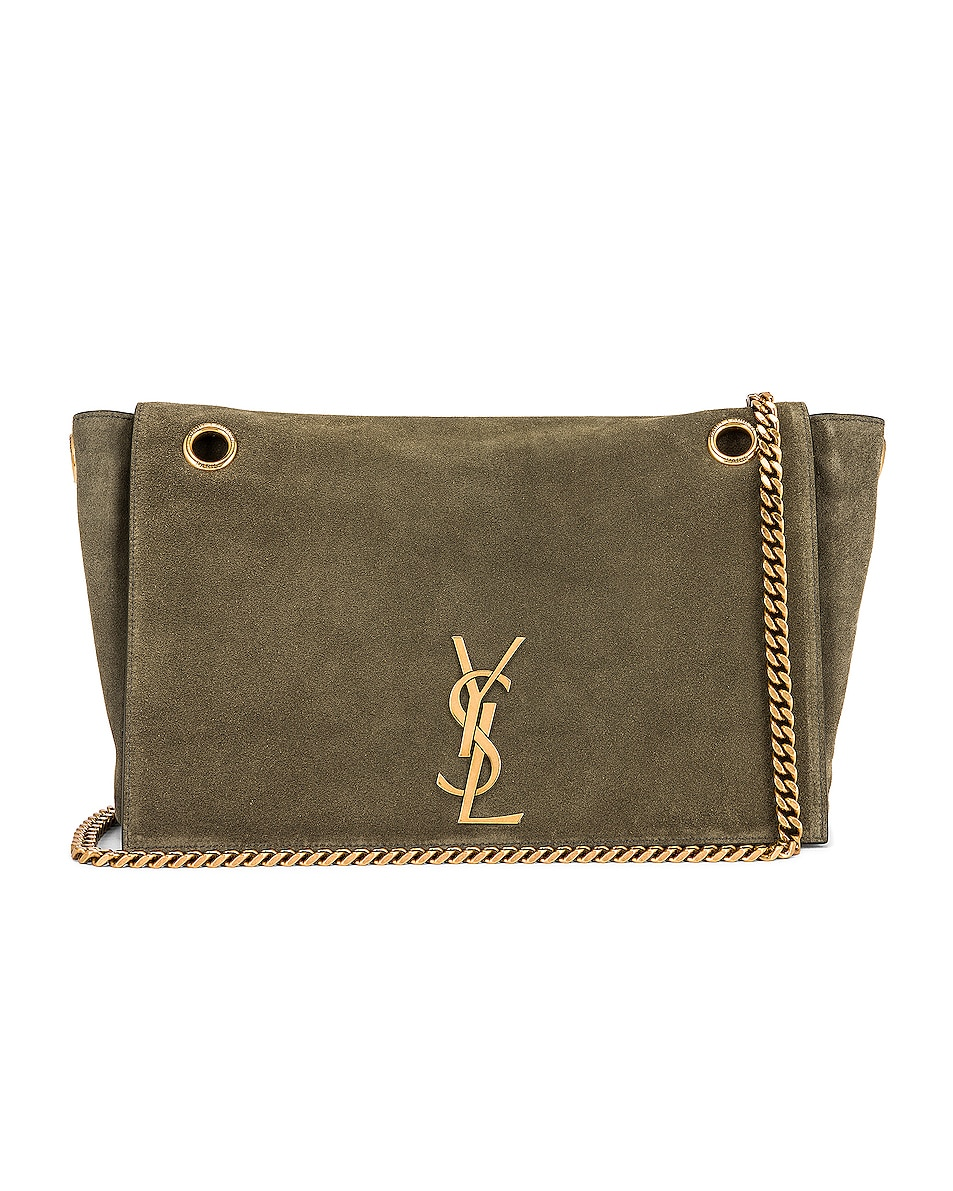Image 1 of Saint Laurent Kate Reversible Monogram Shoulder Bag in Military Olive
