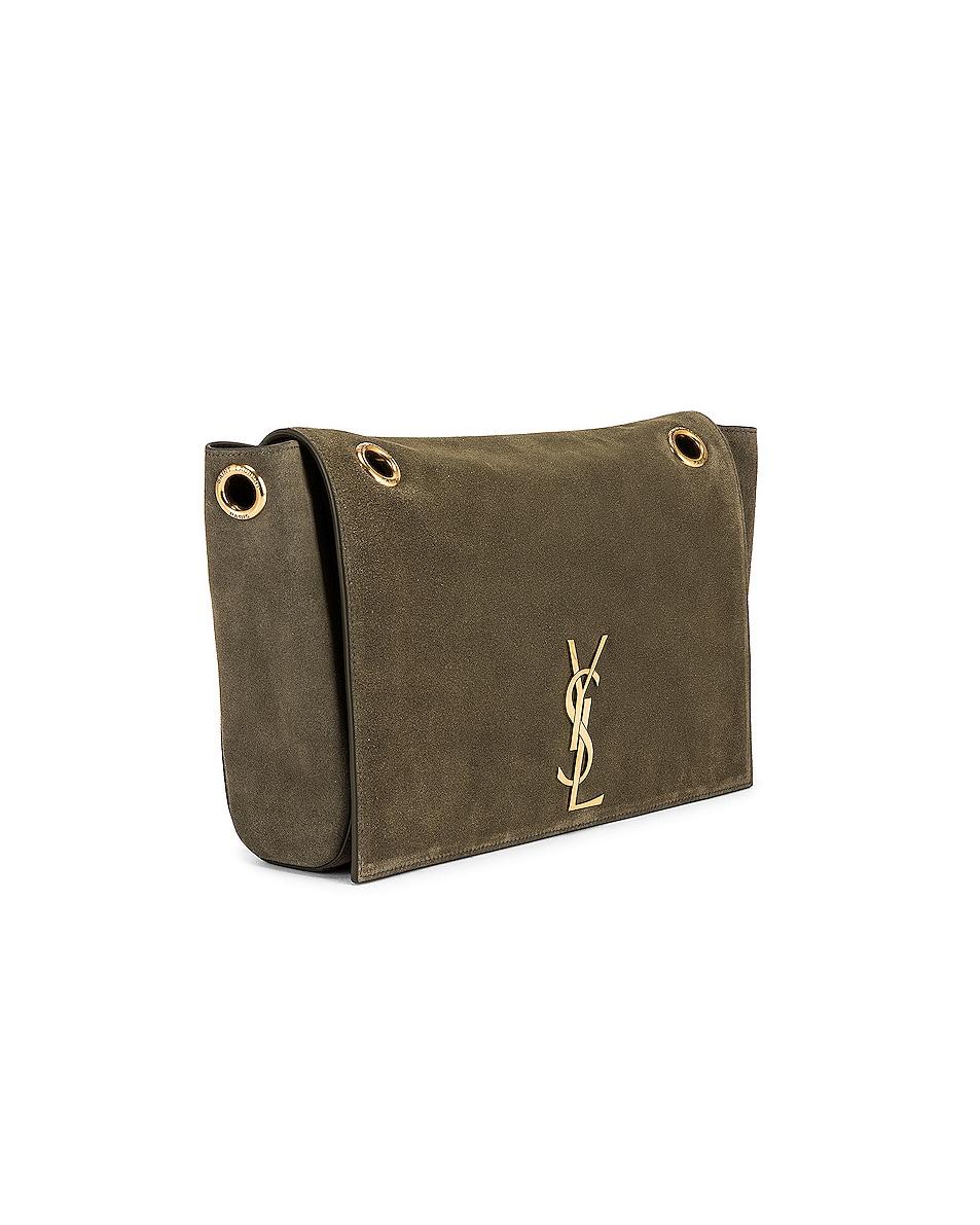 Image 4 of Saint Laurent Kate Reversible Monogram Shoulder Bag in Military Olive