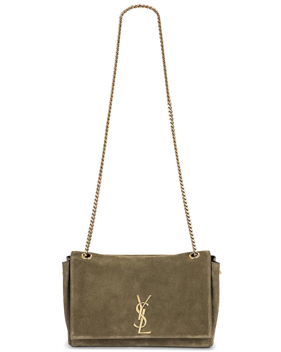Image 6 of Saint Laurent Kate Reversible Monogram Shoulder Bag in Military Olive