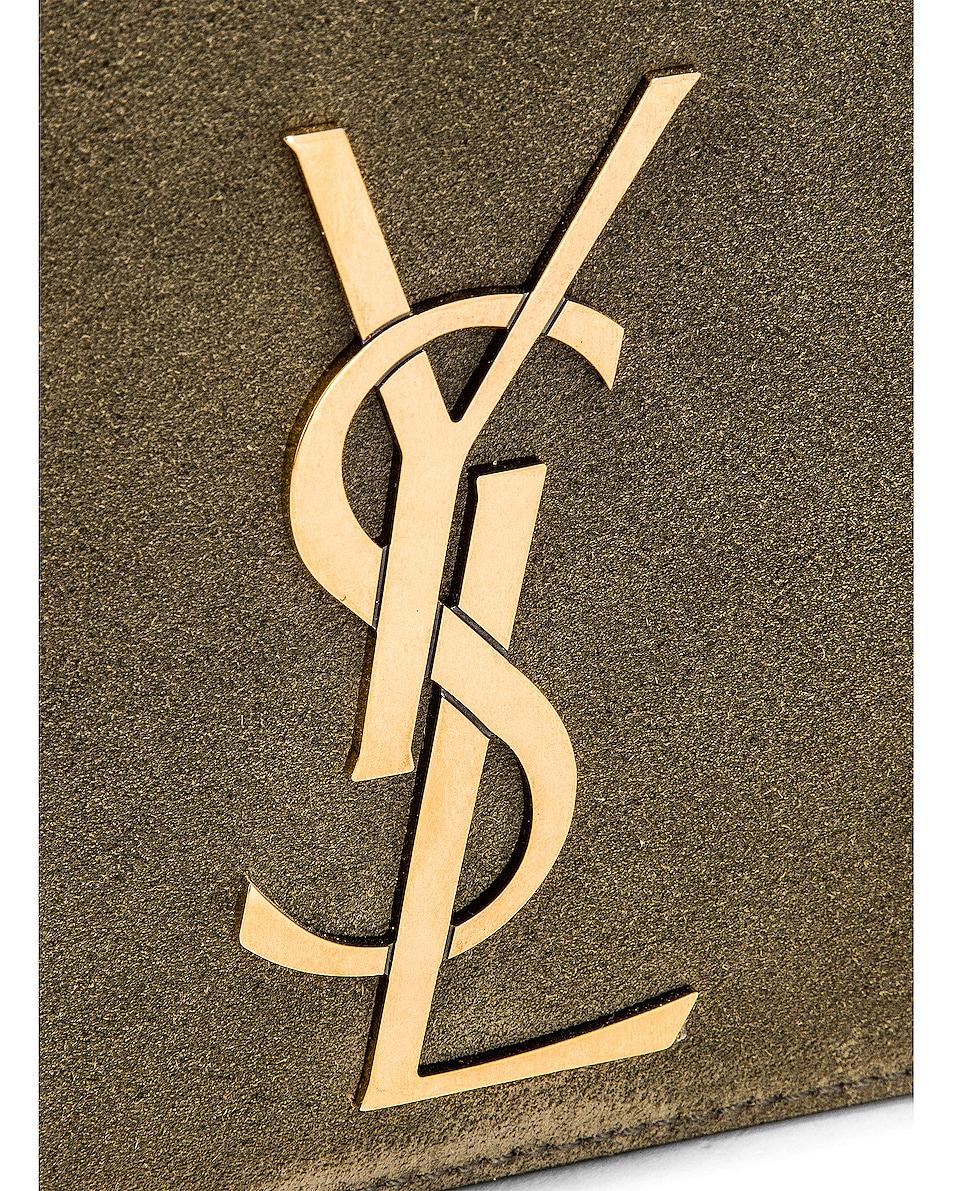 Image 8 of Saint Laurent Kate Reversible Monogram Shoulder Bag in Military Olive
