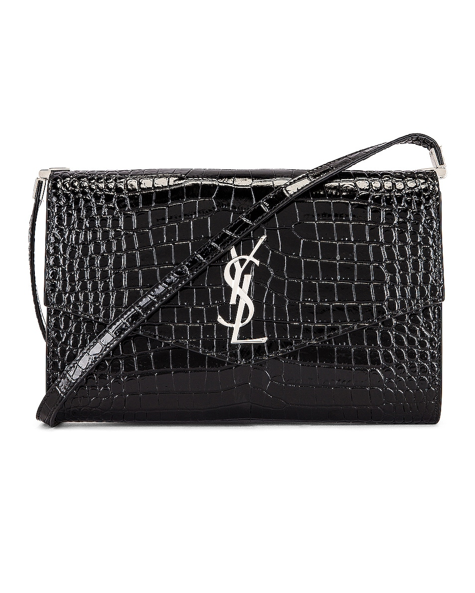 Image 1 of Saint Laurent Embossed Croc Monogramme Chain Wallet Bag in Black
