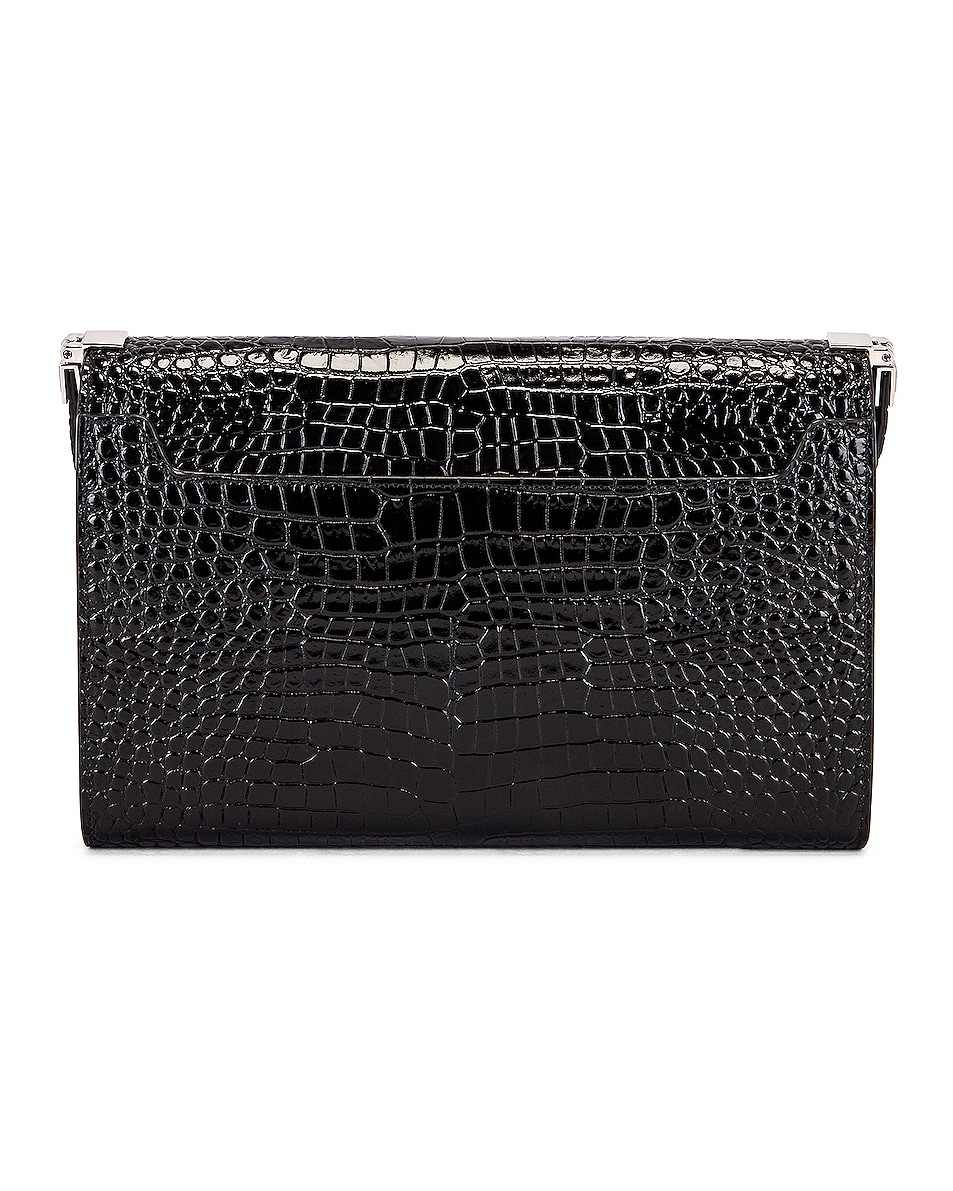 Image 3 of Saint Laurent Embossed Croc Monogramme Chain Wallet Bag in Black