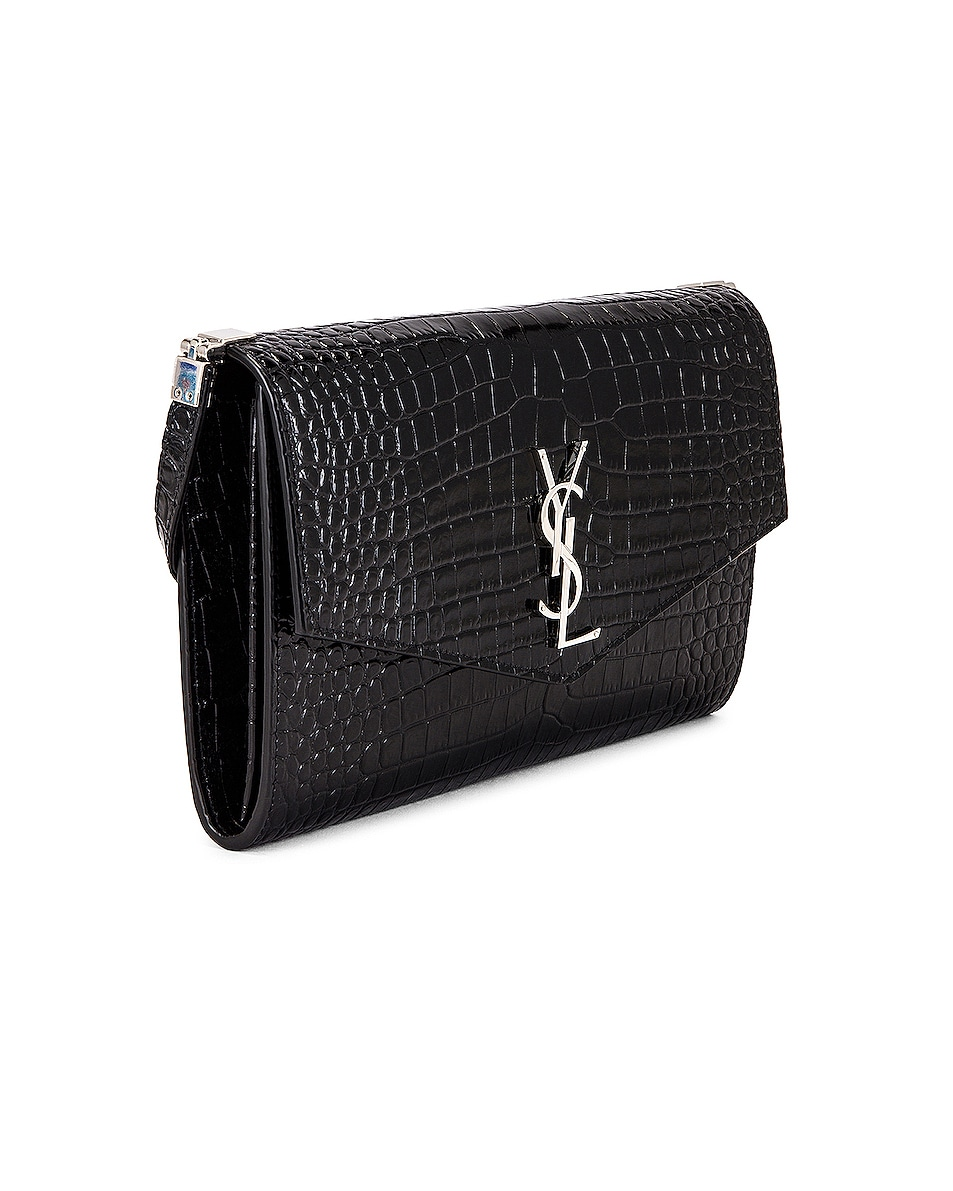 Image 4 of Saint Laurent Embossed Croc Monogramme Chain Wallet Bag in Black