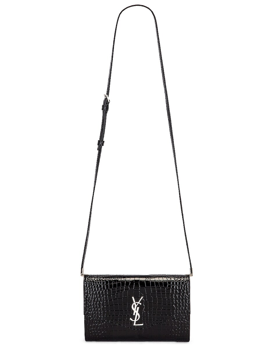 Image 6 of Saint Laurent Embossed Croc Monogramme Chain Wallet Bag in Black
