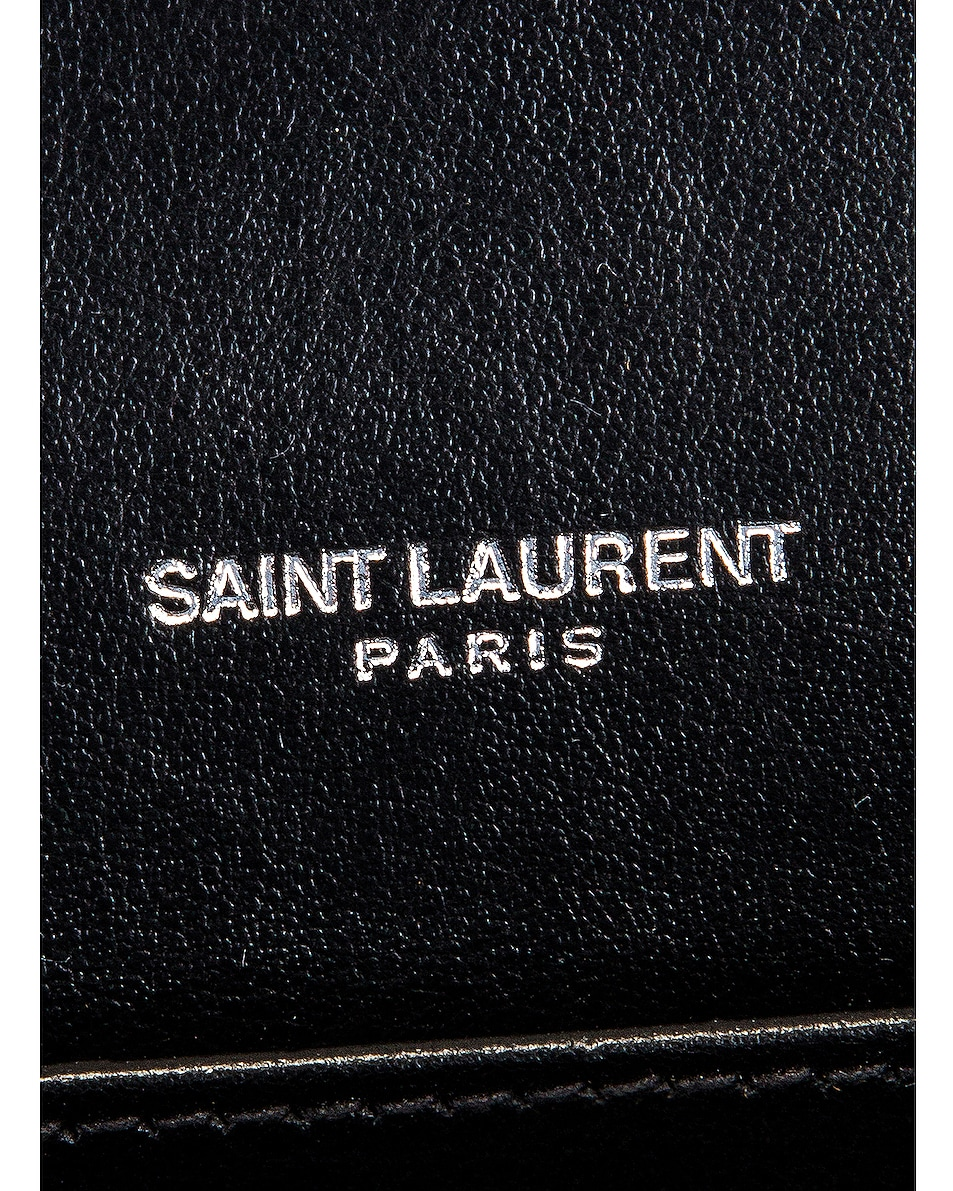 Image 7 of Saint Laurent Embossed Croc Monogramme Chain Wallet Bag in Black