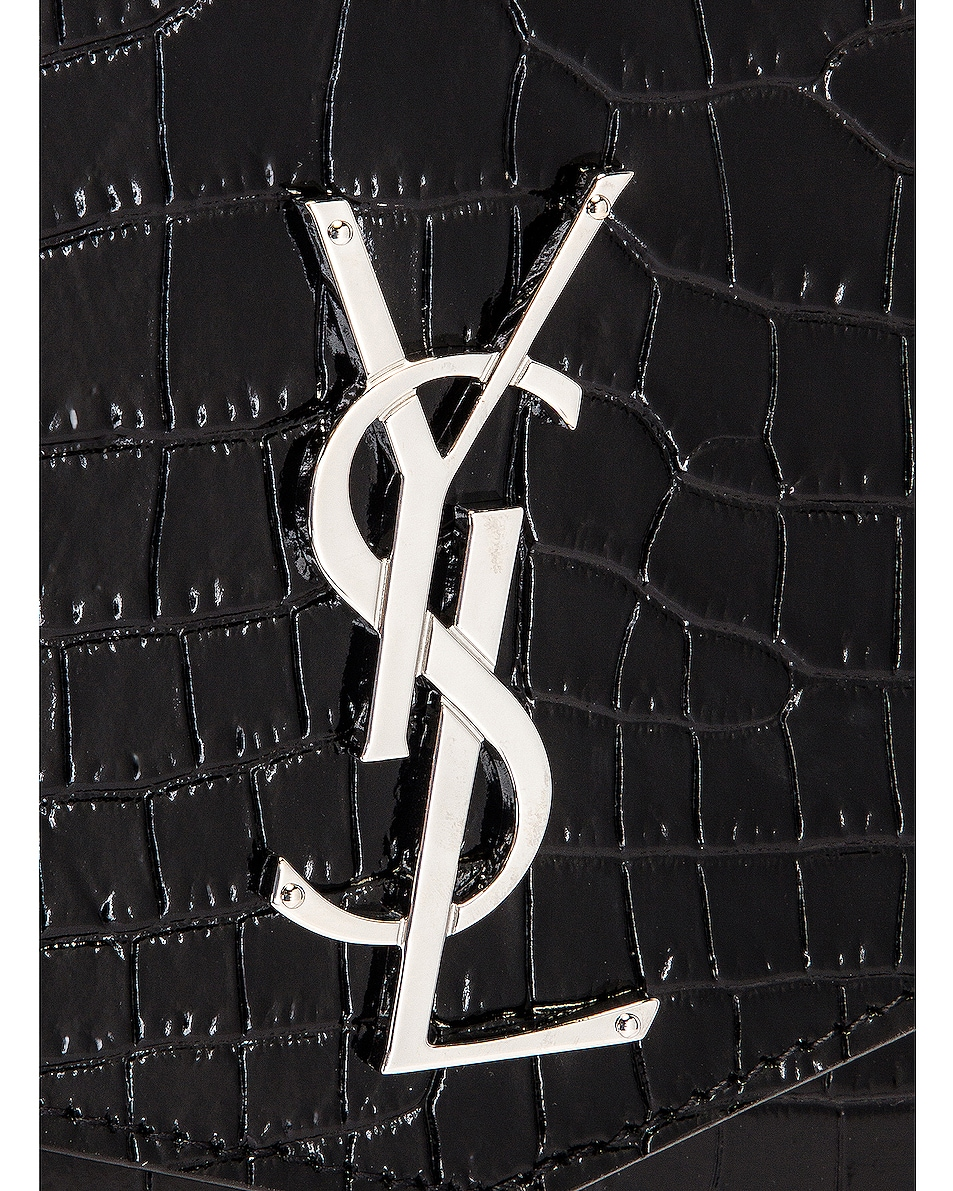 Image 8 of Saint Laurent Embossed Croc Monogramme Chain Wallet Bag in Black
