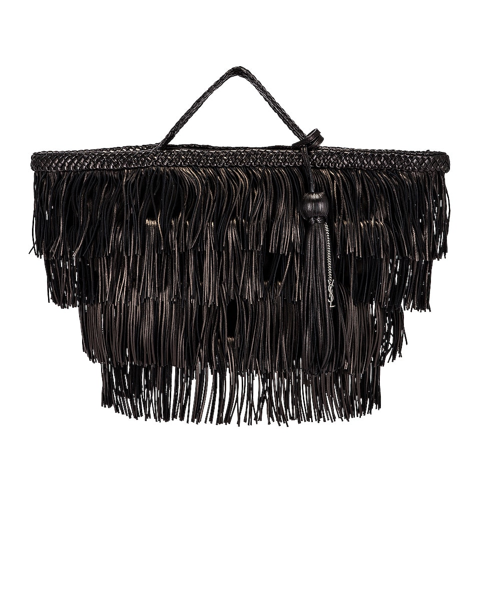 Image 1 of Saint Laurent Panier Fringe Bag in Black