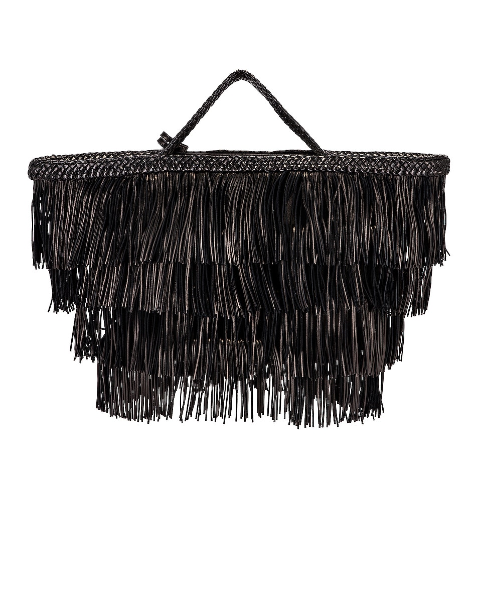 Image 3 of Saint Laurent Panier Fringe Bag in Black