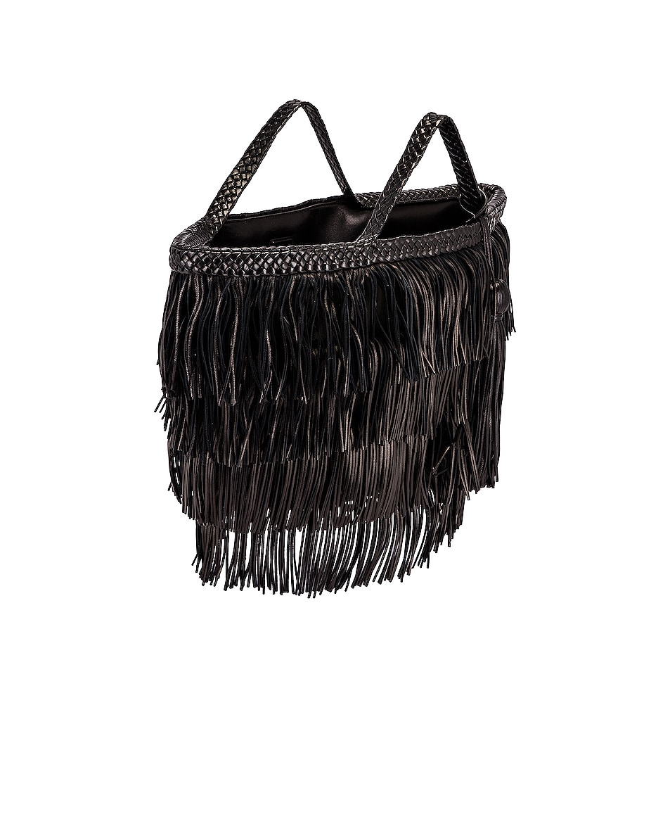 Image 5 of Saint Laurent Panier Fringe Bag in Black