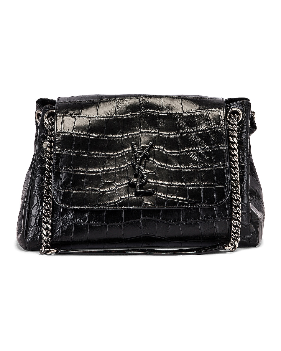 Image 1 of Saint Laurent Medium Nolita Embossed Croc Monogramme Shoulder Bag in Black