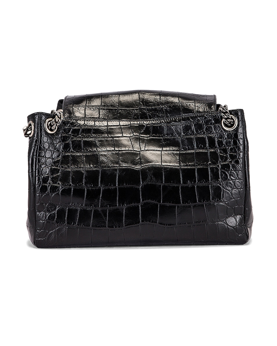 Image 3 of Saint Laurent Medium Nolita Embossed Croc Monogramme Shoulder Bag in Black