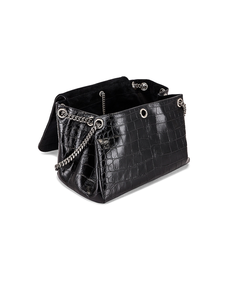 Image 5 of Saint Laurent Medium Nolita Embossed Croc Monogramme Shoulder Bag in Black
