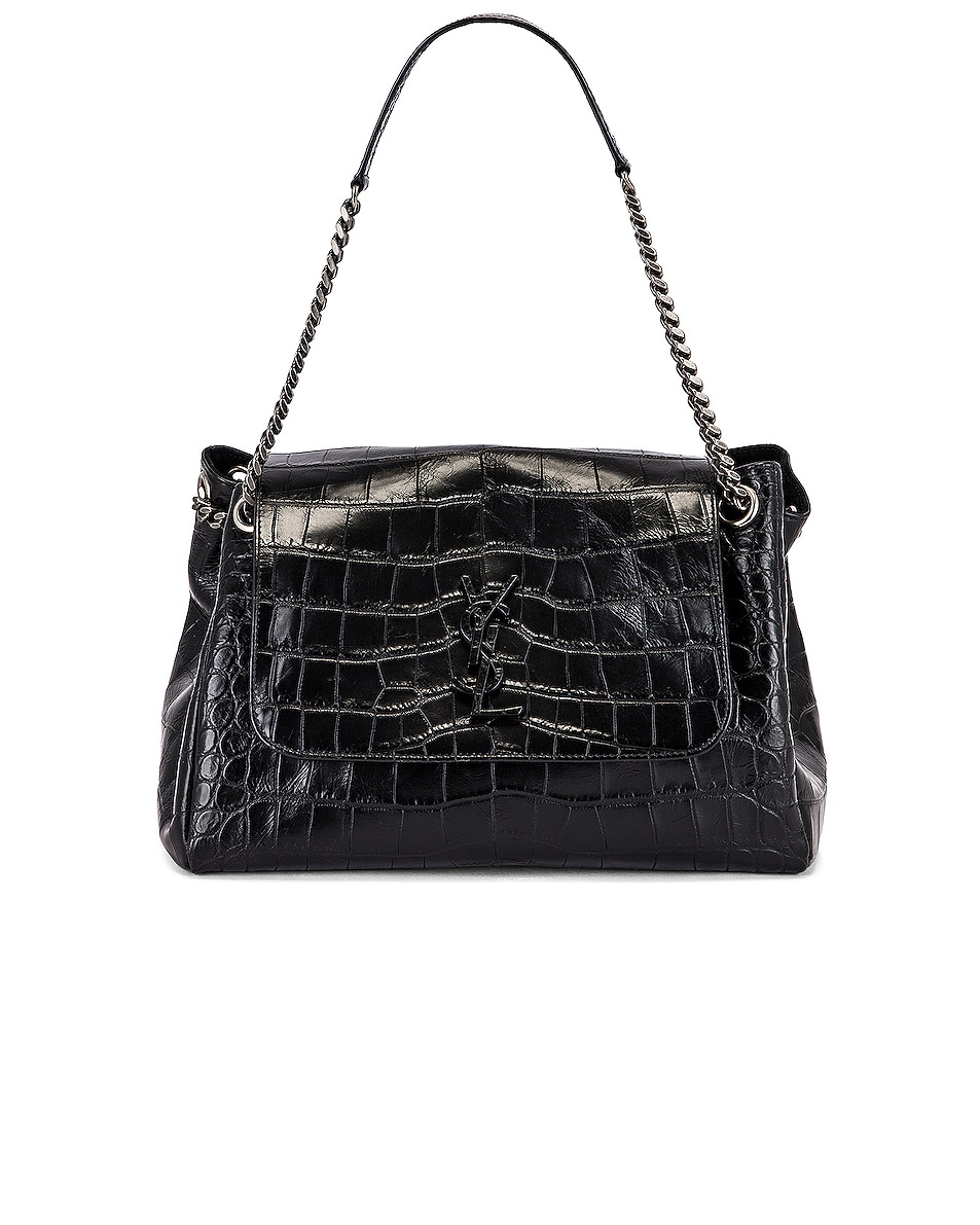 Image 6 of Saint Laurent Medium Nolita Embossed Croc Monogramme Shoulder Bag in Black