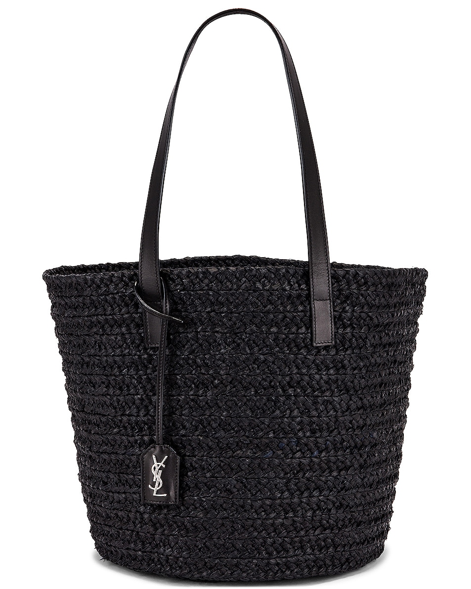 Image 1 of Saint Laurent Medium Panier Raffia Bag in Black