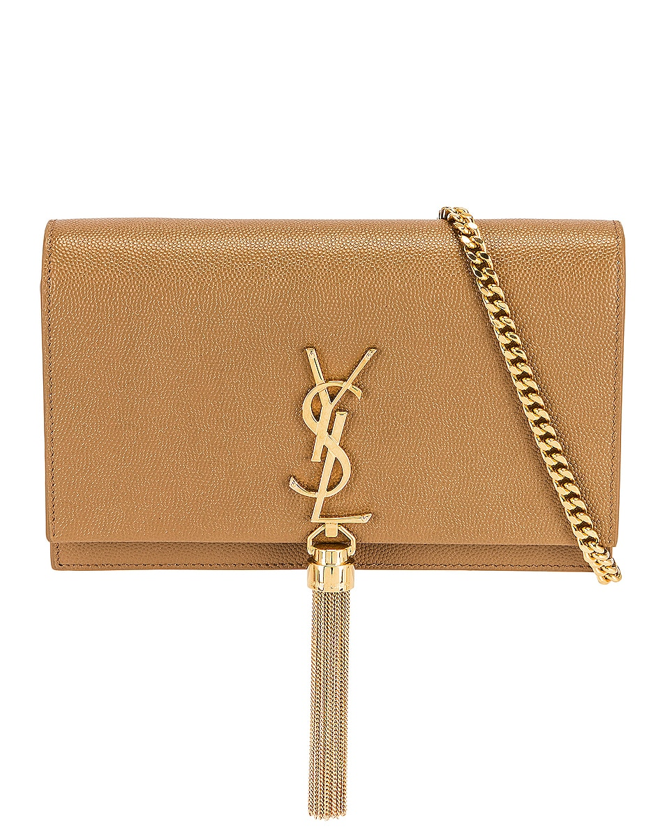 Image 1 of Saint Laurent Kate Chain Wallet in Natural Tan